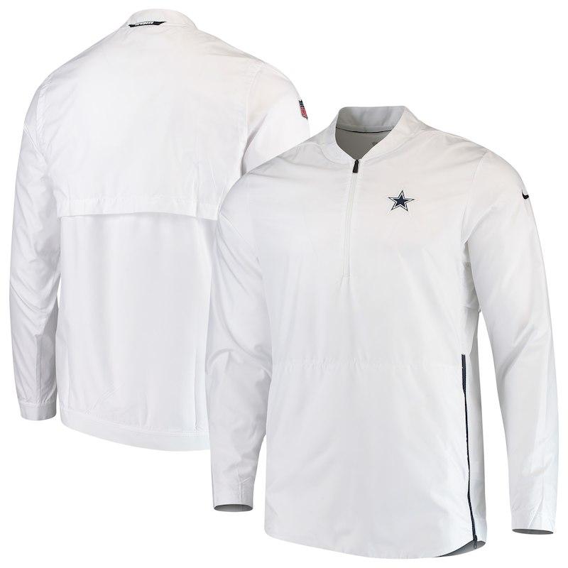 Dallas Cowboys Nike Sideline Lockdown Quarter-Zip Jacket – White ... 9d81e2086