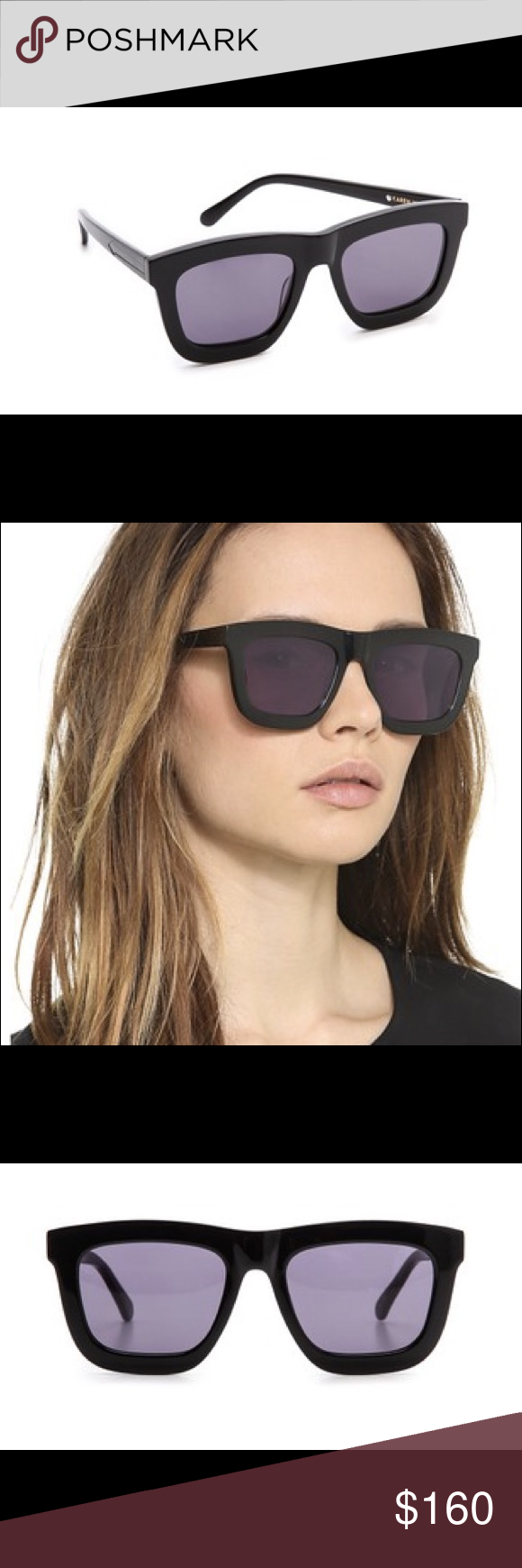 9f95e9996f7f Color  black grey smoke mono. Measurements  width 6in 15cm. Height   2.25in 5.5cm. Lens width  50mm Karen Walker Accessories Sunglasses