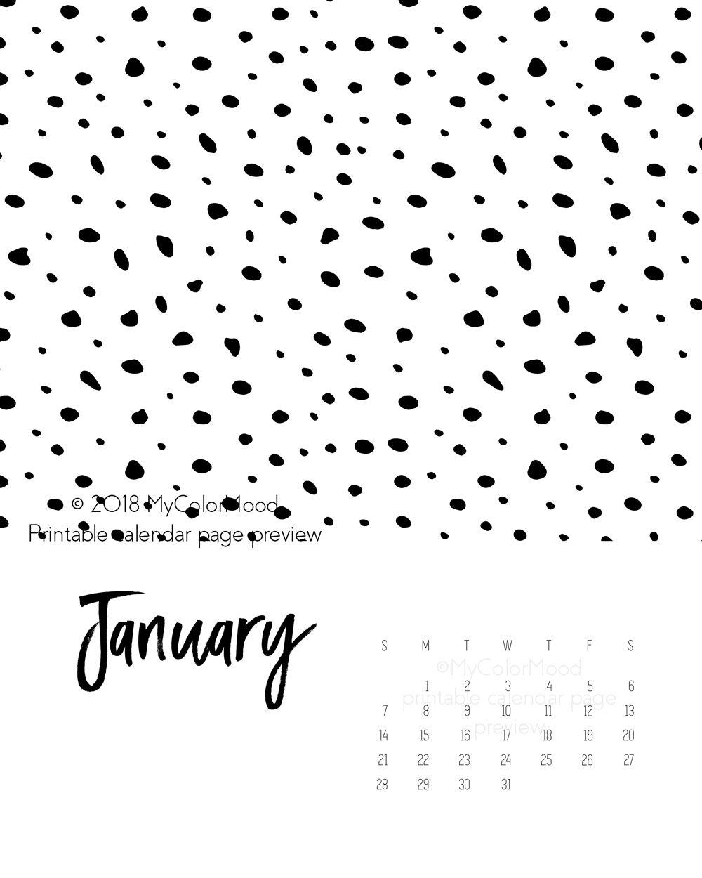 downloadable 2018 calendar