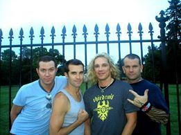 Behind the music: Steel Panther with no make-up! What a pity, we thought Lexi Foxx hair was real!