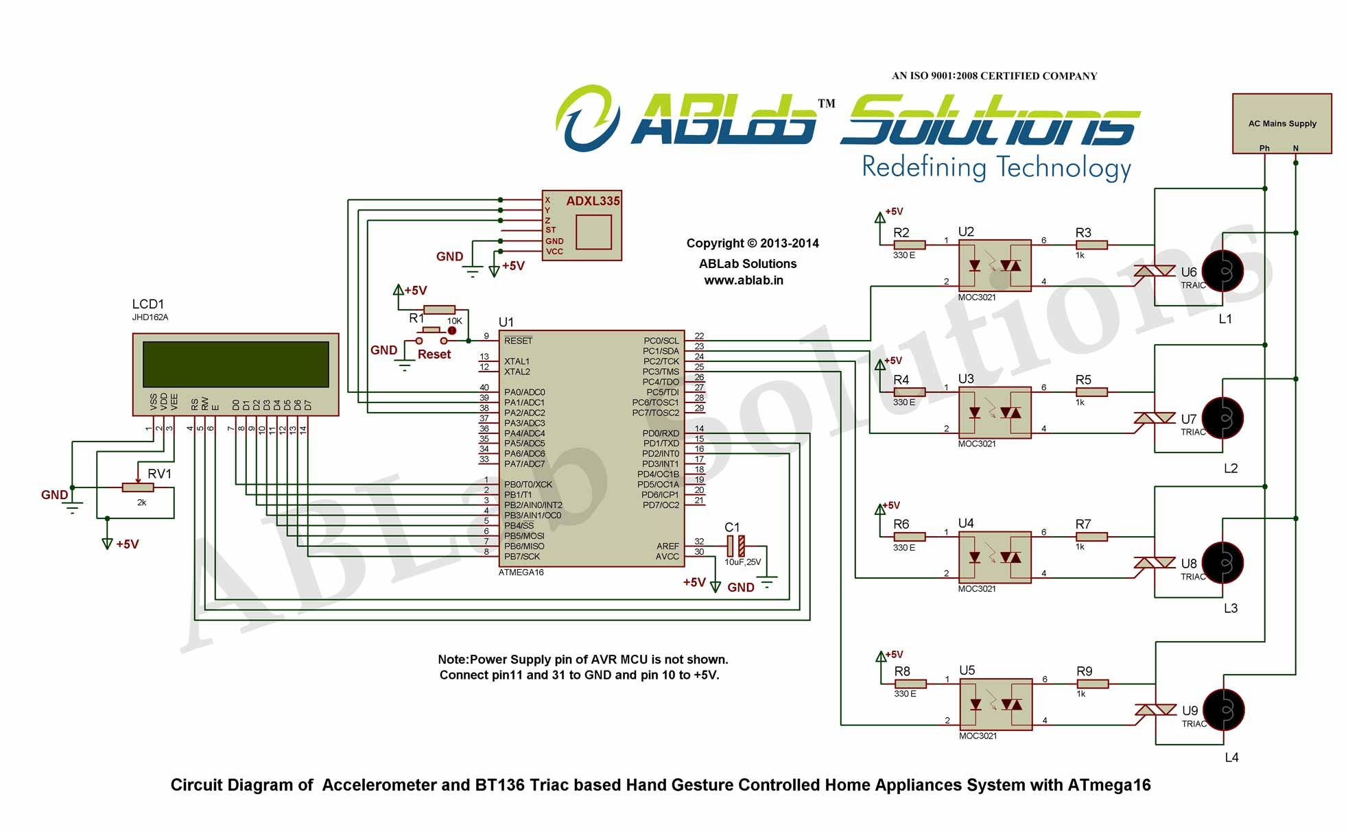 Accelerometer And Bt136 Triac Based Hand Gesture Controlled Home Circuit Diagram Appliances System With Avr Atmega16 Microcontroller