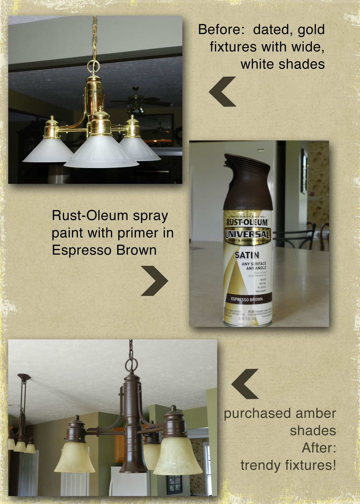 Update light fixtures with spray paint! Directions: Turn off power ...