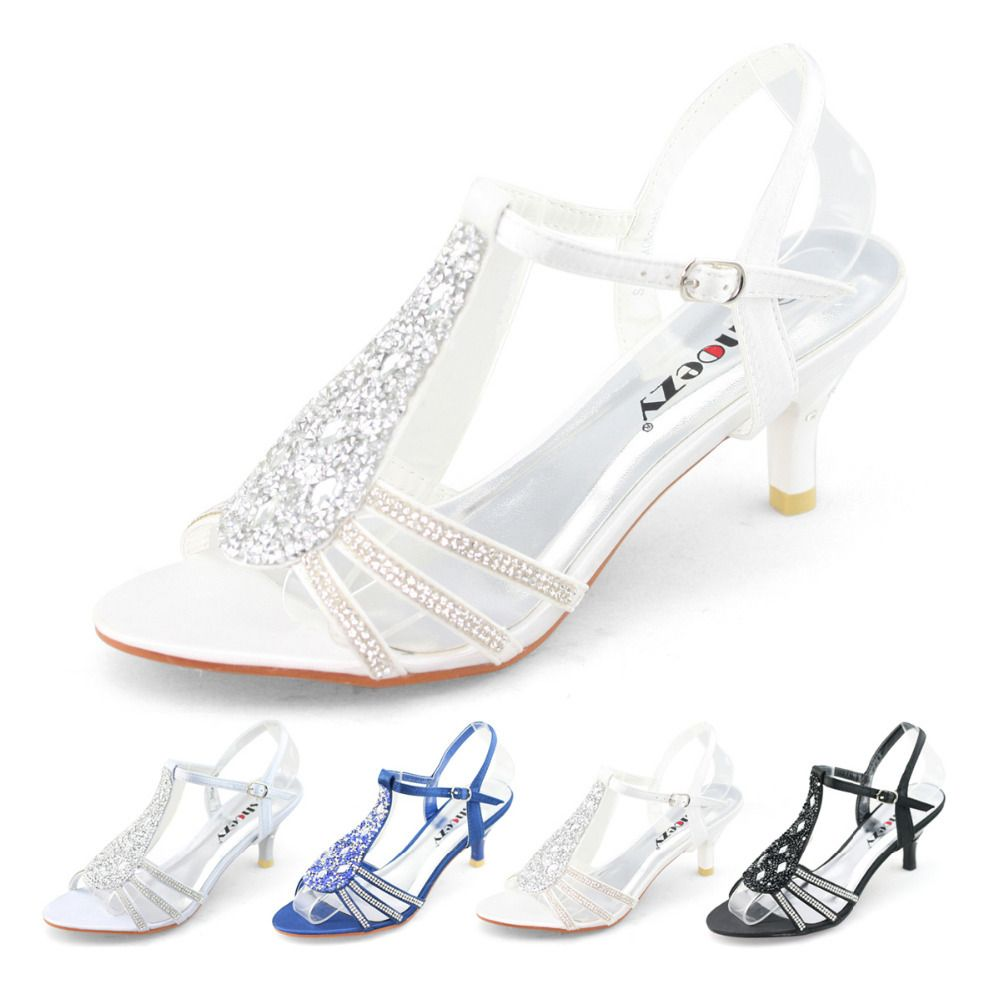 womens low heels shoes satin silver white gold wedding bridal