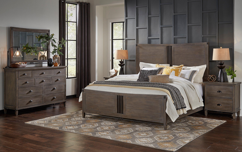 Classic Gray 4 Piece Queen Bedroom Set Mount Holly