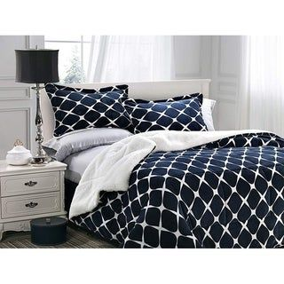 Elegant Comfort 3-Piece Bloomingdale Pattern Sherpa-Backing Reversible Comforter Set (King - Cal King - Mocha), Brown