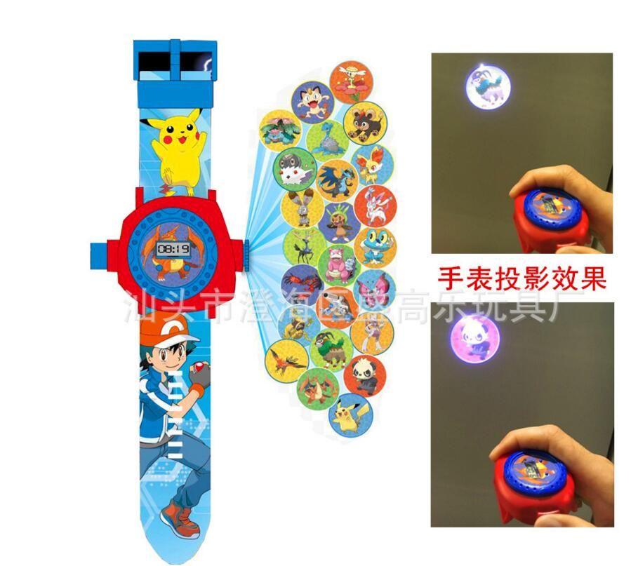 Nuovo Poke Proiezione del fumetto Dei Bambini della vigilanza Elettronica LED Proiezione Digitale Da Polso Per bambini giocattoli Del regalo Del Bambino 24 immagini