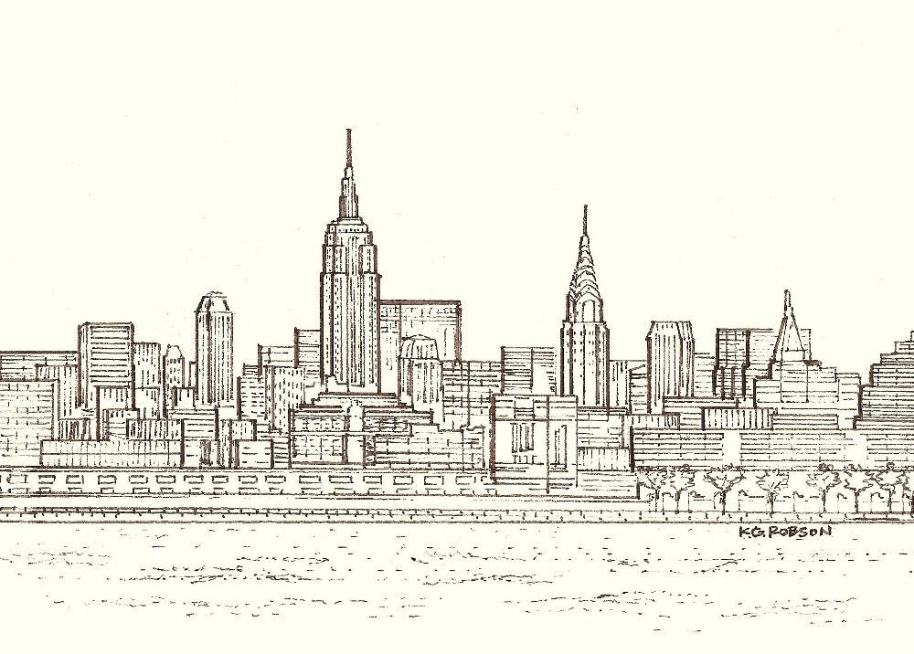 New York City Skyline Colorful Drawings Drawings Art Reference Photos