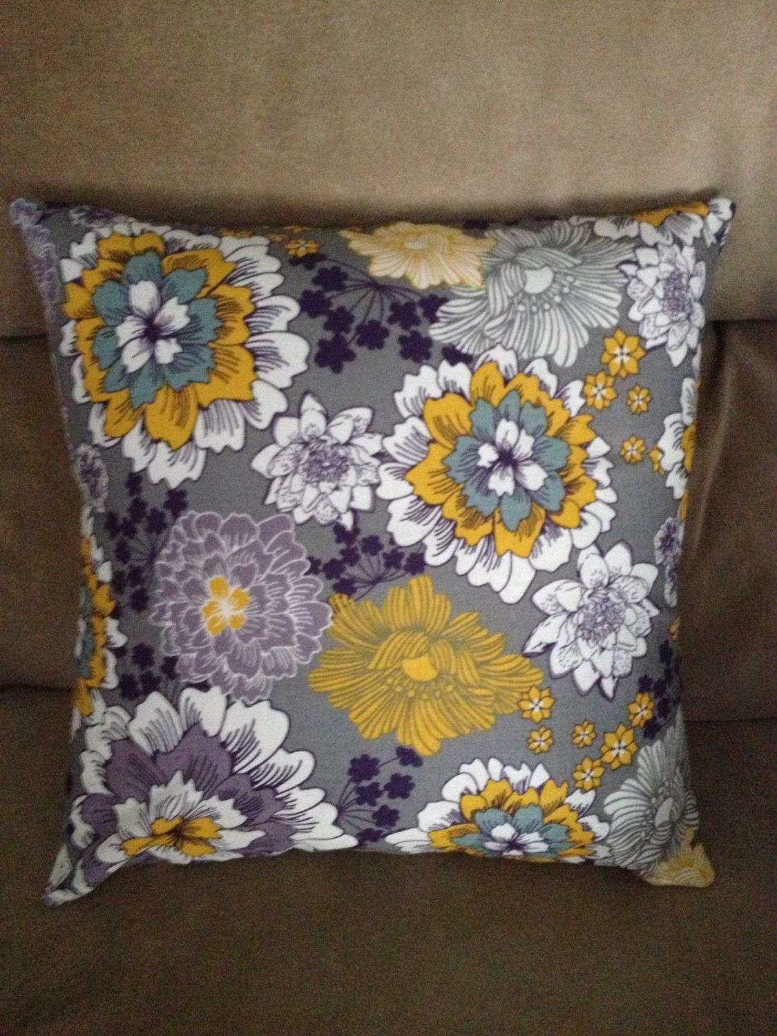 Decorative Pillow Cover 14 X Purple Yellow Fl By