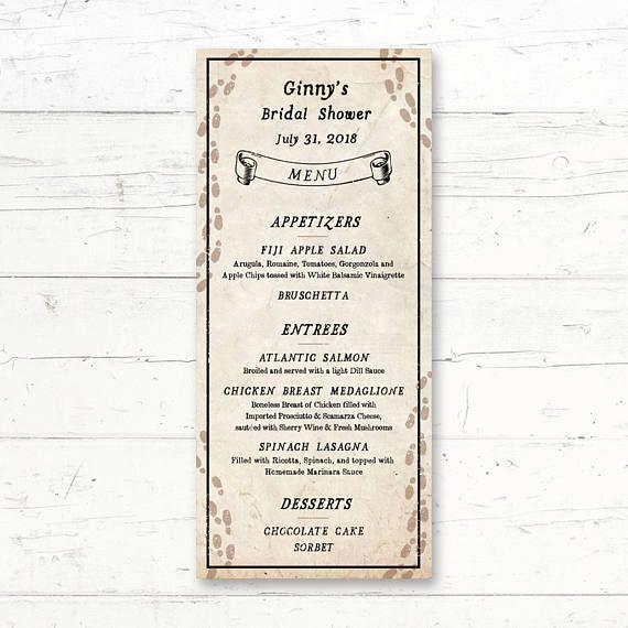 Ryddig Harry Potter Marauders Map Printable Menu Card Wedding Bridal SC-17