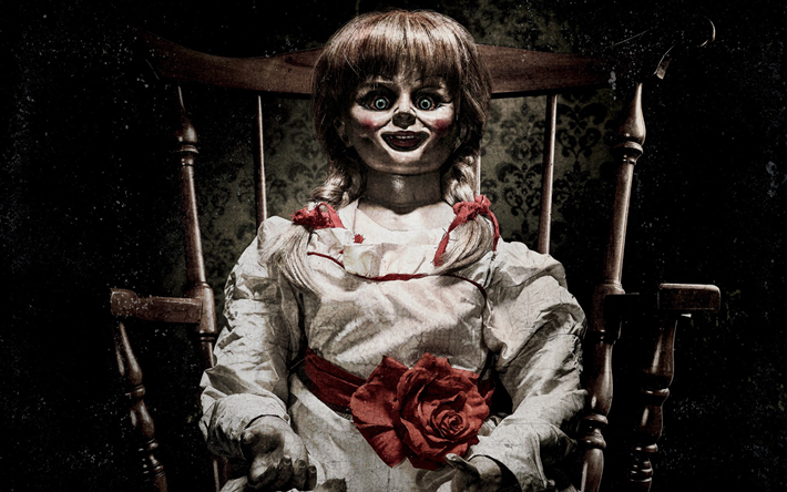 Download Wallpapers Annabelle Creation 2017 Annabelle 2 Poster New Movies Doll Besthqwallpapers Com Annabelle Doll The Conjuring Horror Movies