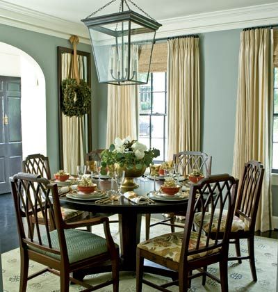 Sage Walls Floor To Ceiling Drapes Patterned Seat Cushions Beautiful Mell