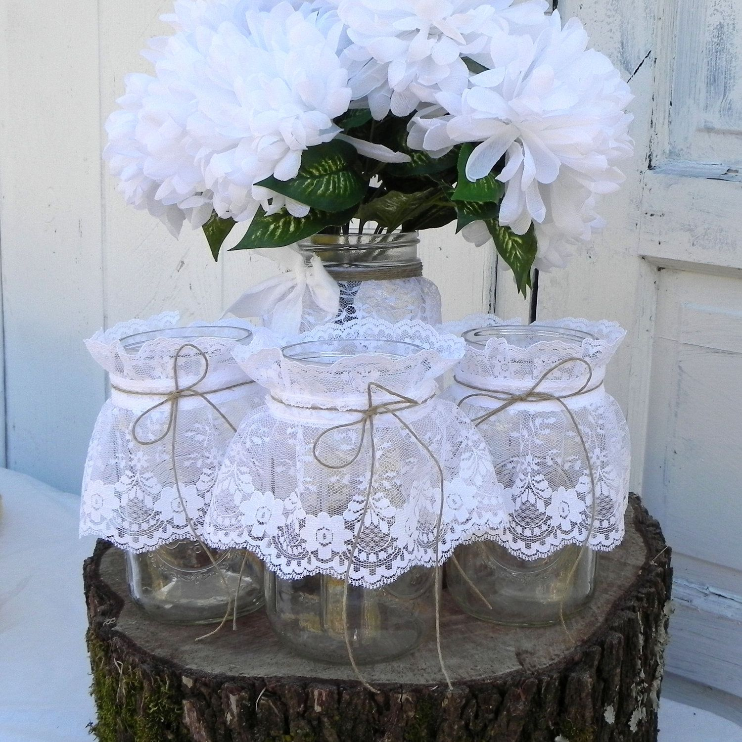 Vintage Wedding Ideas Mason Jars: 3 Rustic Lace Mason Jars Wedding Table Decoration By