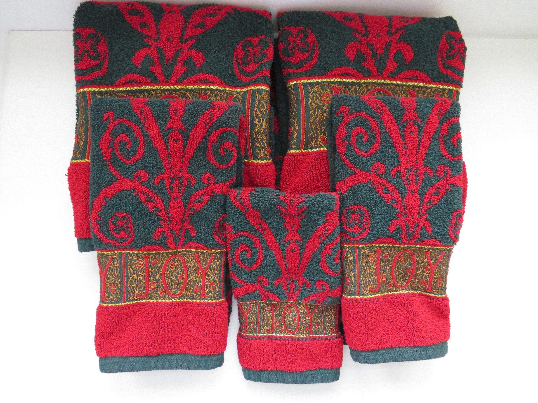 Five Piece Christmas Bath Towel Set By Santens Joy Red Green