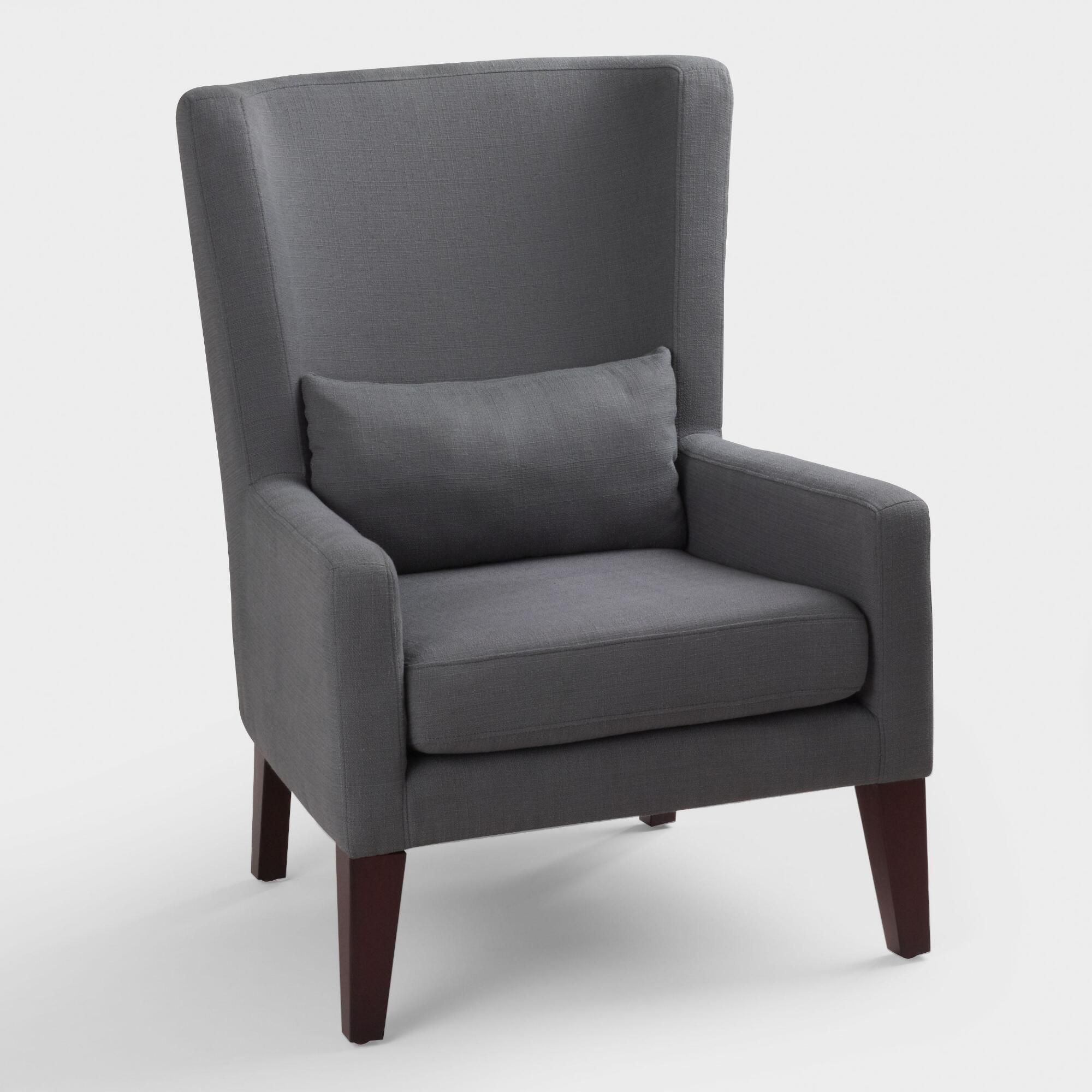 Astounding Dove Gray Triton High Back Chair Fabric By World Market In Home Remodeling Inspirations Genioncuboardxyz