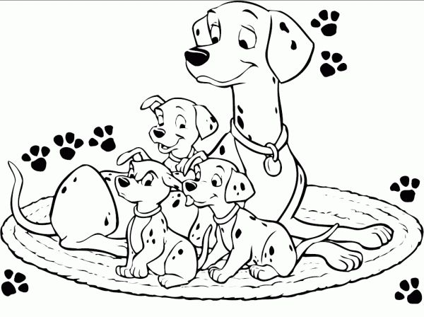 Perdita and dalmatians puppy sitting on rounded matress in 101 dalmatian coloring page