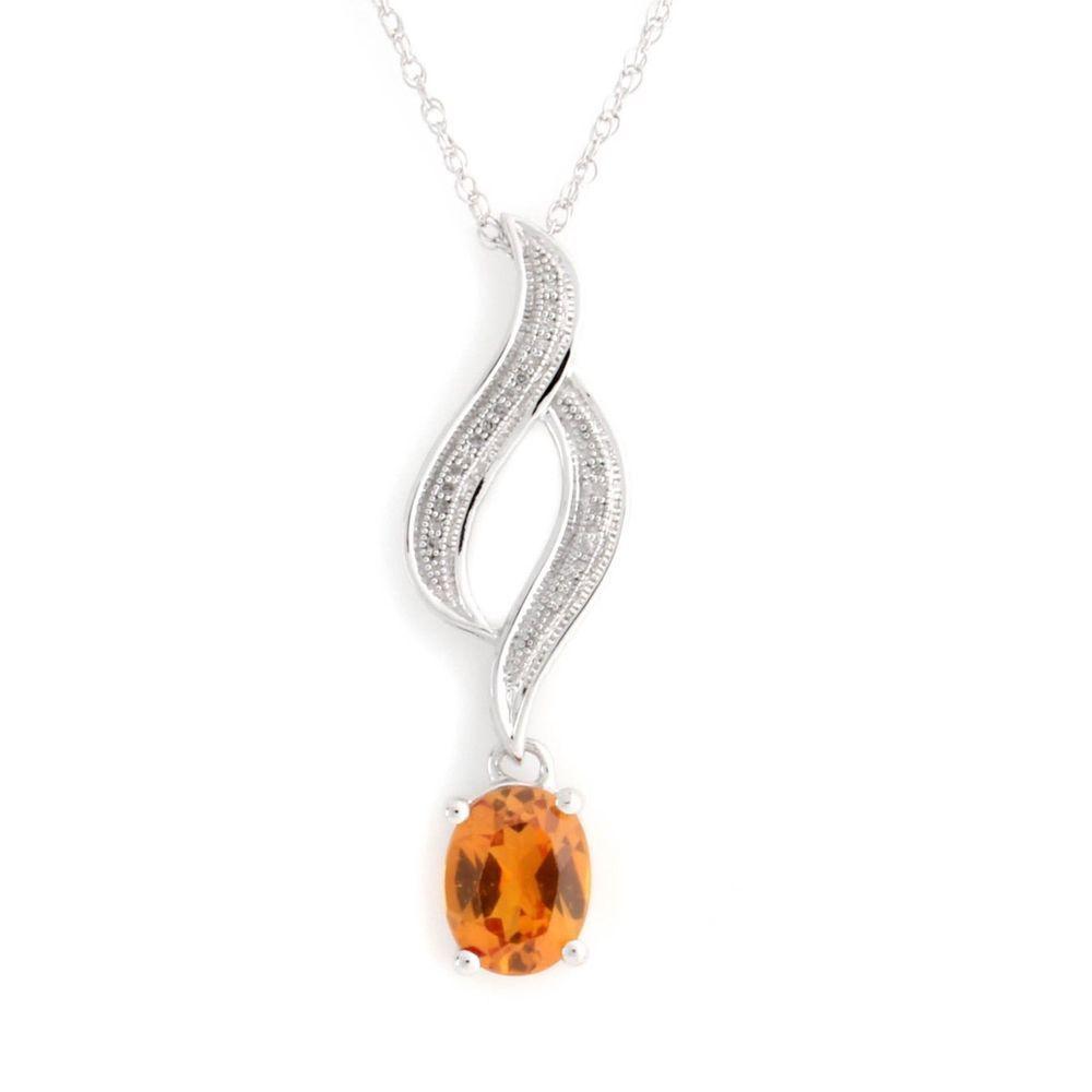 Platinum Plated 3.15 Ct Citrine & Natural Diamond Journey Pendant Necklace Q346 #Affinityjewelry #JourneyPendant