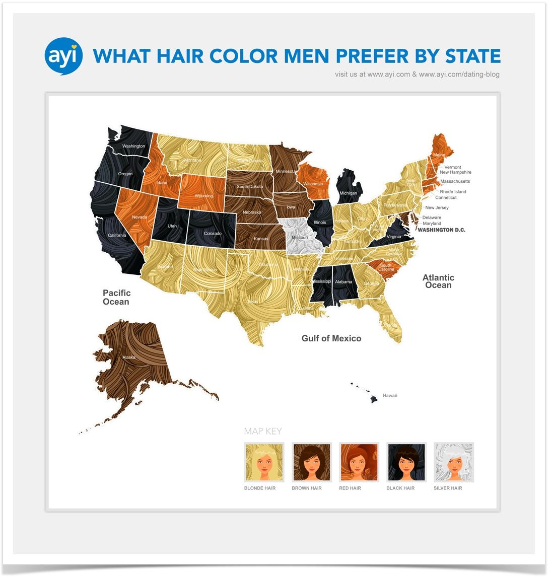 Color online us map - What Hair Color Men Prefer In The United States By State