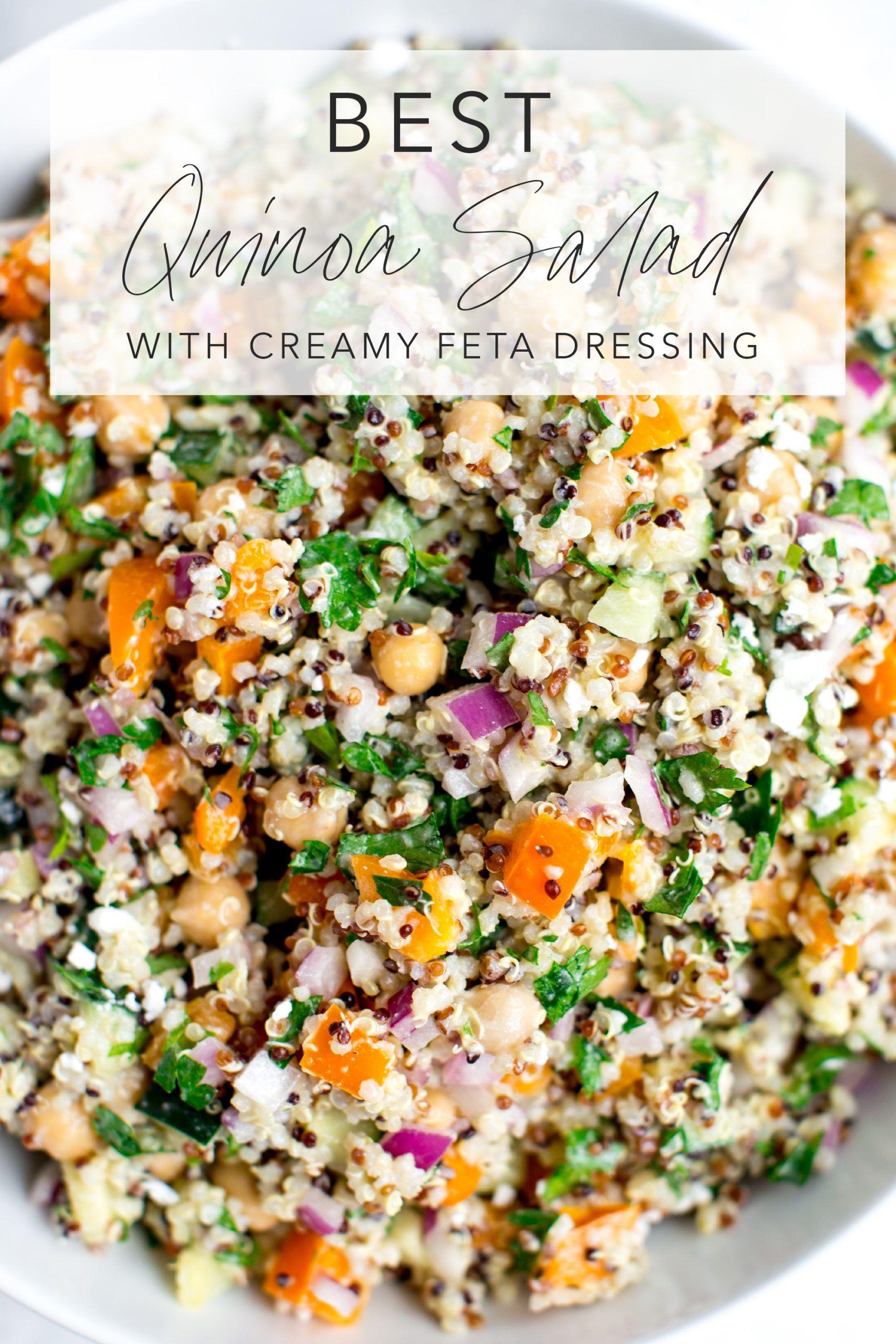 Best Quinoa Salad with Creamy Feta Dressing