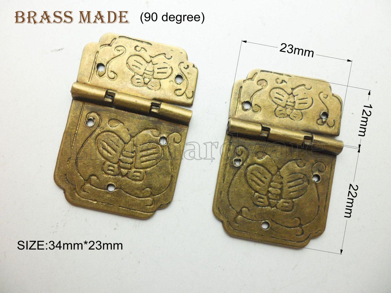 "Decorative Box Hinges 2 Pcs Brass Made 34Mmx23Mm 90 Degree Asymmetric ""butterfly"" Metal"