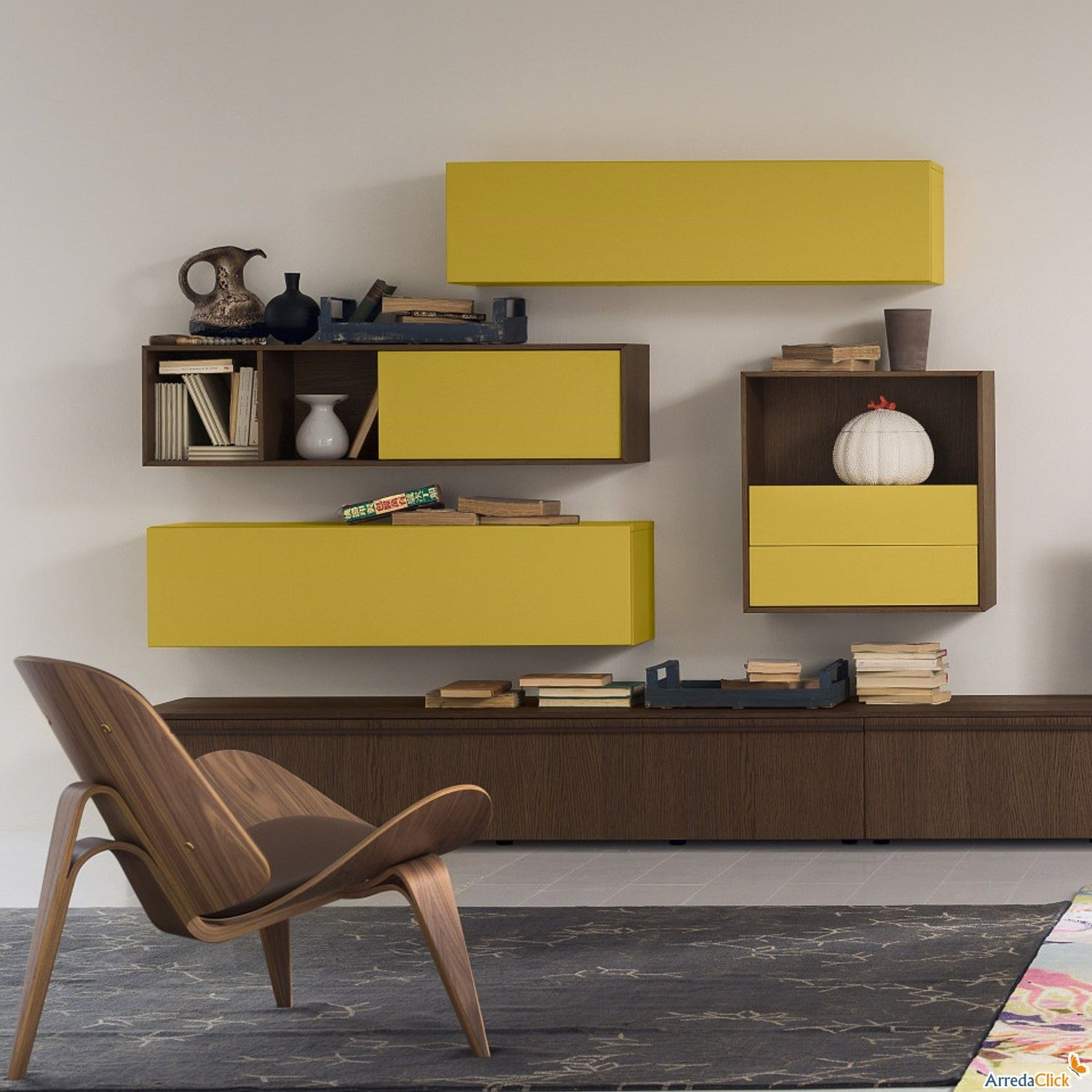 Wall storage units with or without doors. Cool match of colours ...