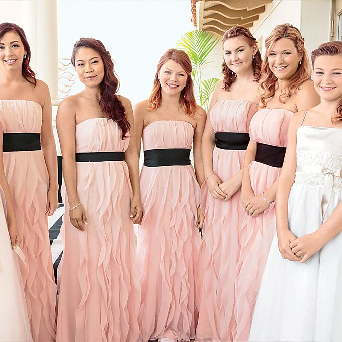 Live Wedding See All The Glamorous Details From The Big Day Bridesmaid Dresses Strapless Pink Chiffon Bridesmaid Dress Cute Bridesmaid Dresses