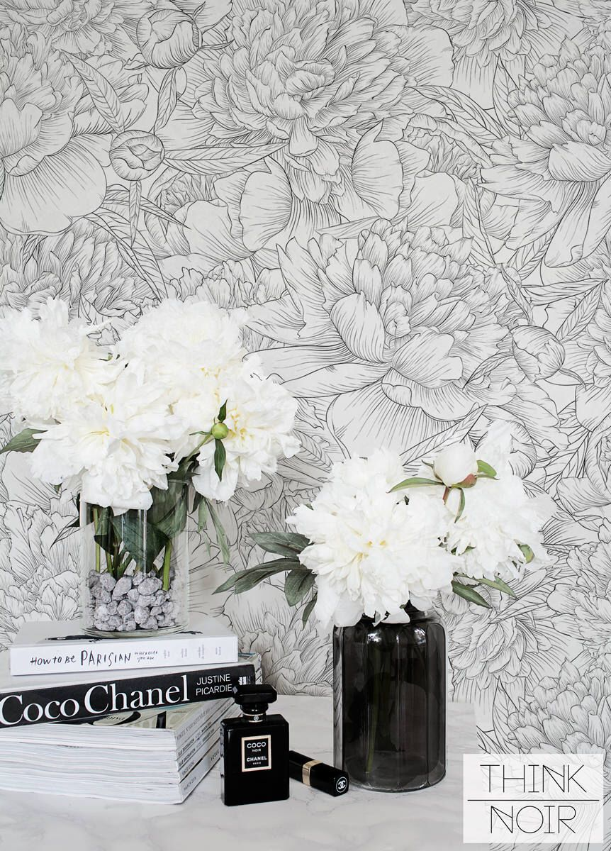 Delicate Peony Self Adhesive Wallpaper / Floral Removable
