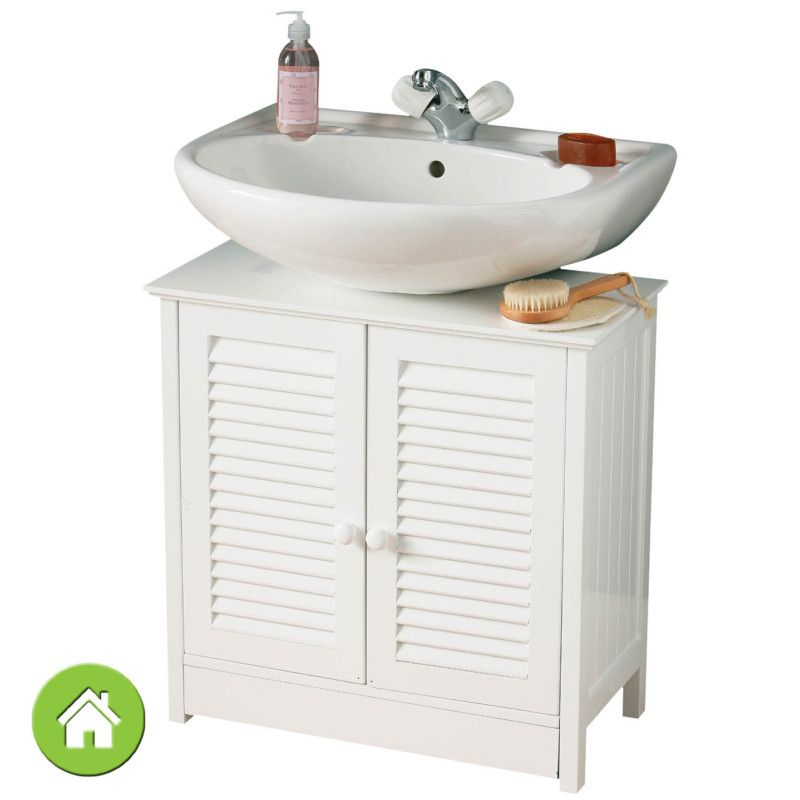 WHITE WOOD UNDER SINK BATHROOM FLOOR CABINET STORAGE UNIT WITH DOORS