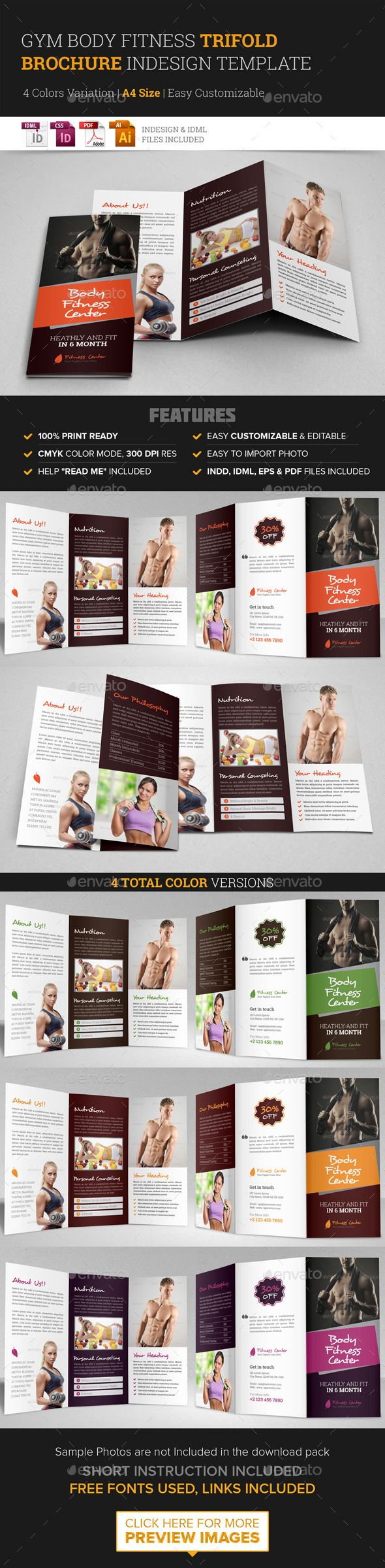 Gym Fitness Trifold Brochure Indesign Template – Fitness Brochure Template