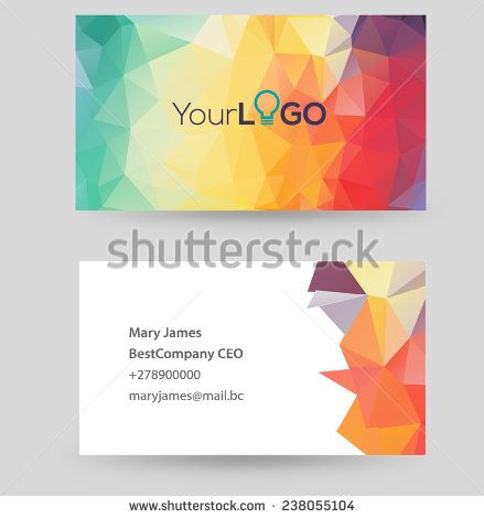 Vector business card design template with triangle design. Can be ...