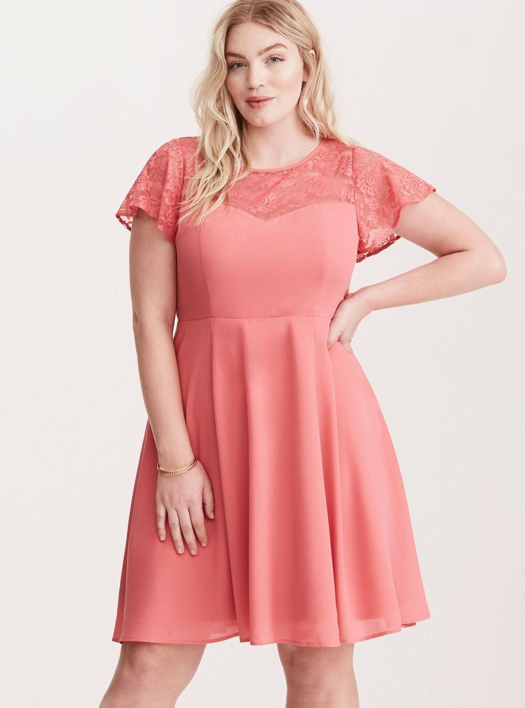 Georgette Lace Inset Skater Dress/ Plus Size Clothing / TORRID ...