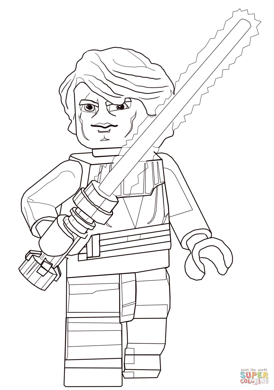 Lego Star Wars Anakin Skywalker Coloring Page Supercoloring Com