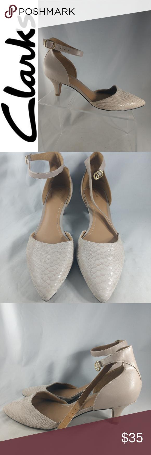 Clarks Artisan Beige Snake Leather Kitten Heel 9m Shoes Women Heels Snake Leather Clarks