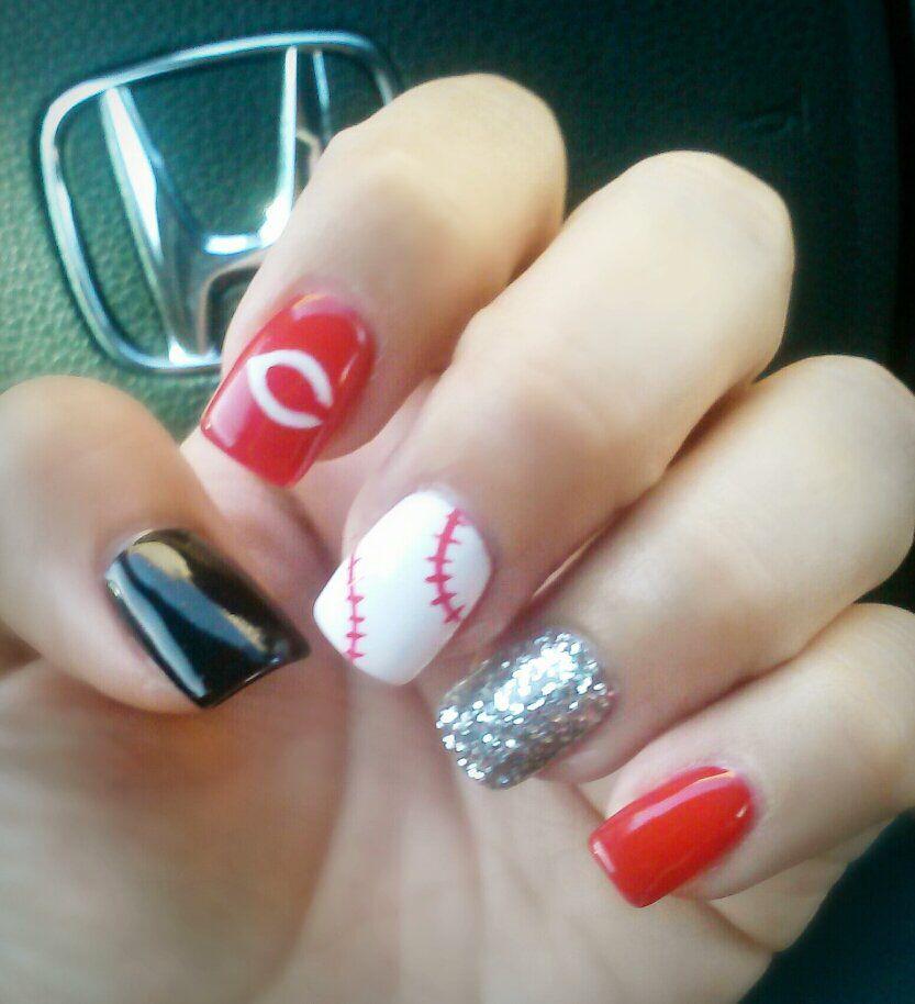 Cincinnati Reds Inspired Nails