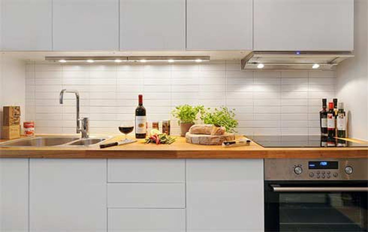Stunning Apartment Galley Kitchen Makeover With Solid Wood Countertops And  White Painted Exposed Brick Wall From Splendid Theme Collection F..