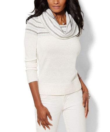 New York & Company Winter White Jacquard Cowl Neck Sweater ...