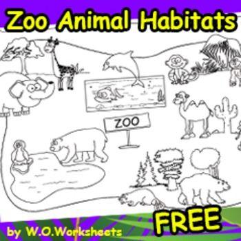 Free Zoo Animal Habitats Coloring Page showing habitats. You may ...