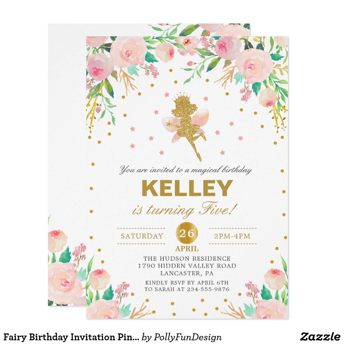 Fairy Birthday Invitation Pink Floral Girl Party | Fairy birthday ...