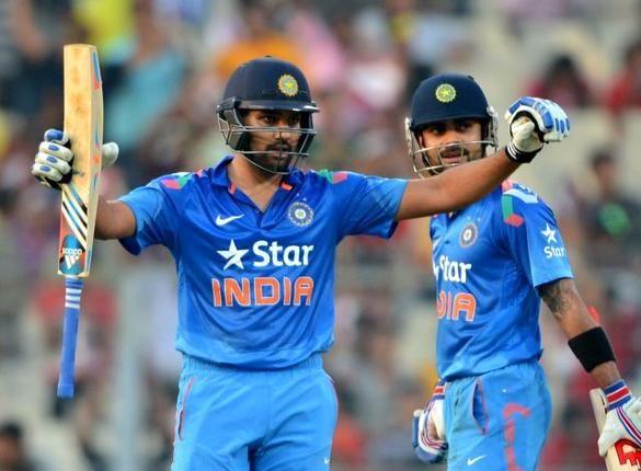 Rohit Sharma celebrates after scoring 150 runs at the Eden Gardens, Kolkata on Thursday. He scored the highest score in One-Day Internationals eclipsing Sehwag's score of 219. Photo: K.R. Deepak