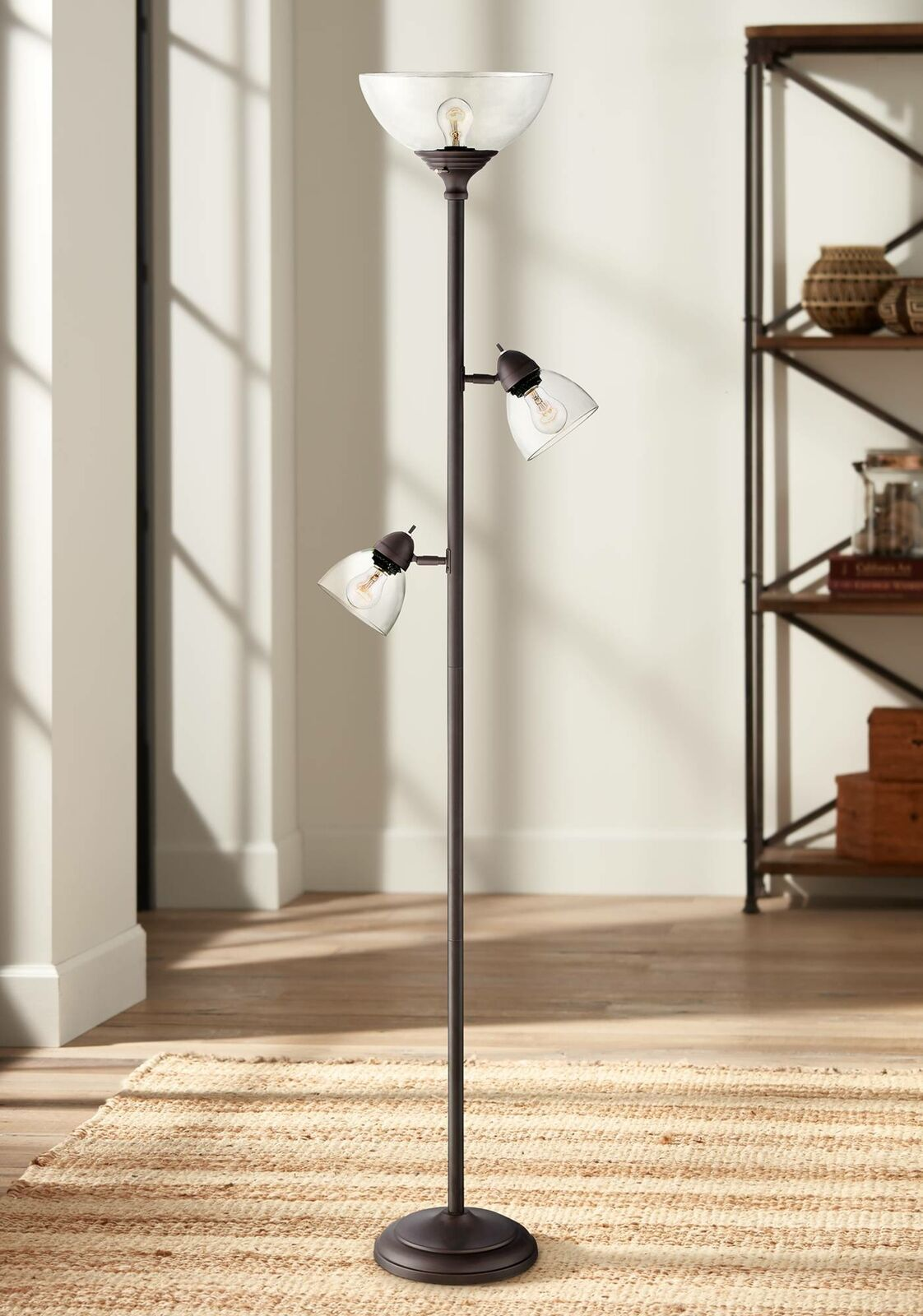 Details About Modern Torchiere Floor Lamp 3 Light Tree Bronze Glass For Living Room Reading