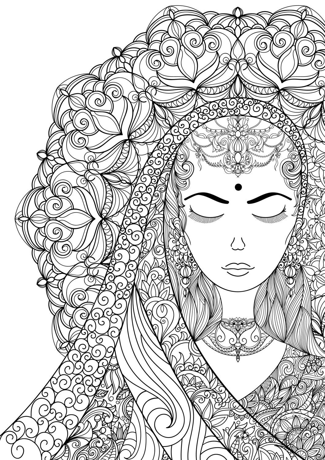 Coloring pages woman - Coloring Pages For Adult Indian Woman Adult Por Annawiltonart