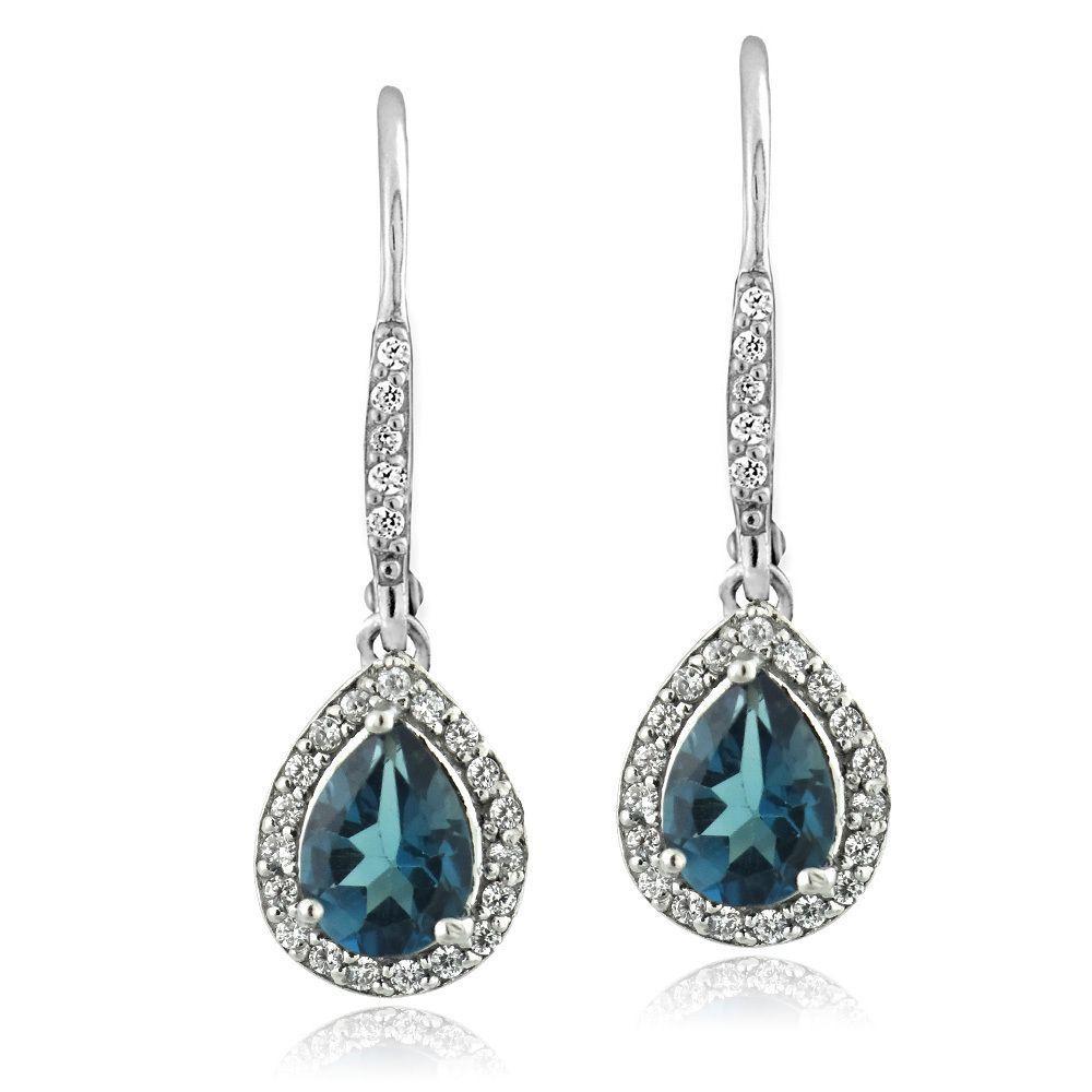 Glitzy Rocks Sterling Silver London Blue Topaz And Cubic Zirconia Teardrop  Earrings, Women's, Size: Medium
