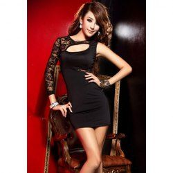 Stunning Plunging Neck Off-One-Shoulder Lace Splicing Bodycon Style Milk Silk Dress For Women (BLACK,ONE SIZE) China Wholesale - Sammydress.com