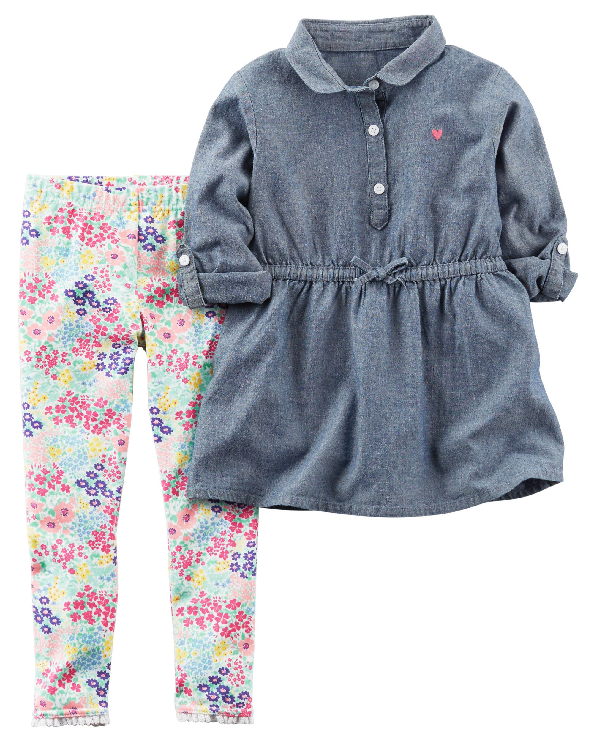 e2161447 2-Piece Chambray Tunic & Legging Set | #babygirljohnson style ...