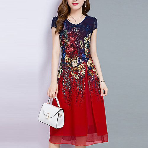 Women s Plus Size Going out Chiffon Dress - Floral Layered   Print   Summer  2018 - US  17.09 a31855e1d902