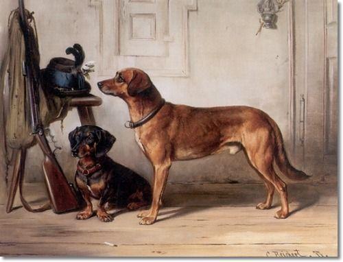 Carl Reichert Hunters Companions Dachshund And Retriever 1877