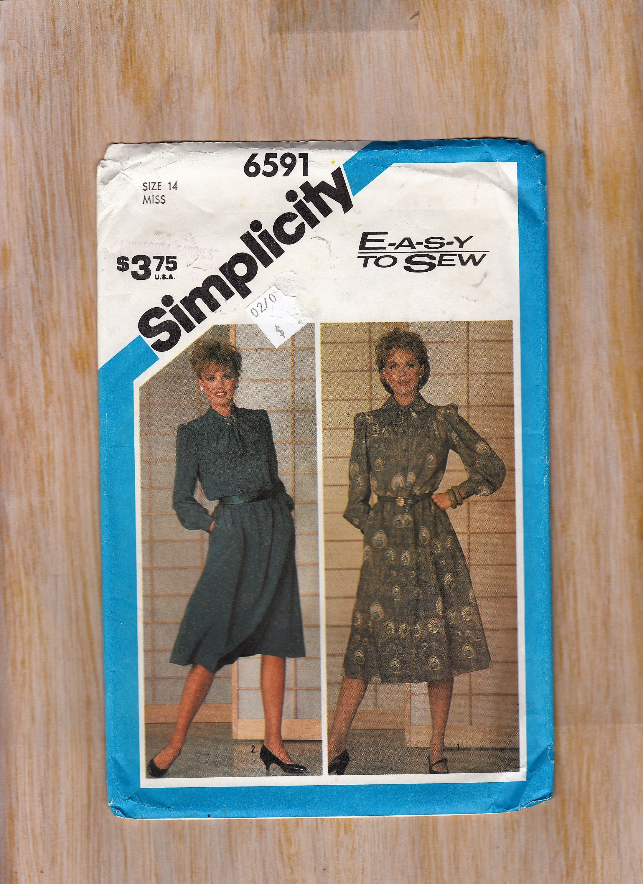 Womens sewing pattern simplicity 6591 long sleeve dress cinched womens sewing pattern simplicity 6591 long sleeve dress cinched waist size 14 bust 36 waist jeuxipadfo Choice Image