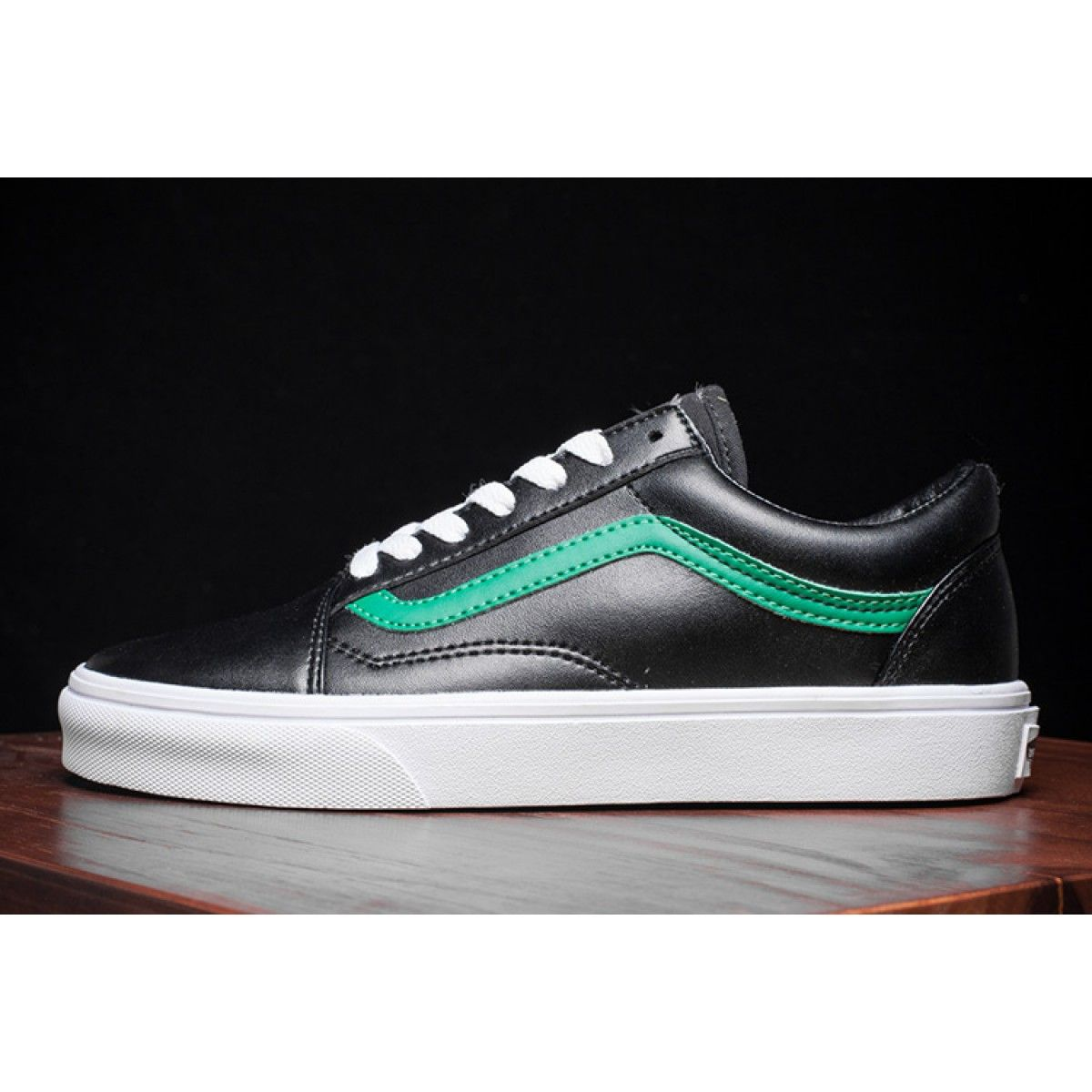 2e80872a12d3b3 Black Leather Vans Old Skool Green Stripe Skate Shoes  Vans