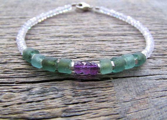 Amethyst Bracelet Roman Glass Bracelet Cubic by earthwatersol