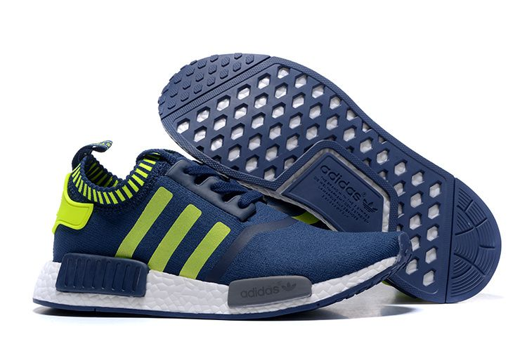 fb92e6fcc 2016 Adidas Originals NMD Runner Primeknit Men Running Shoes Blue Fluorescent  green