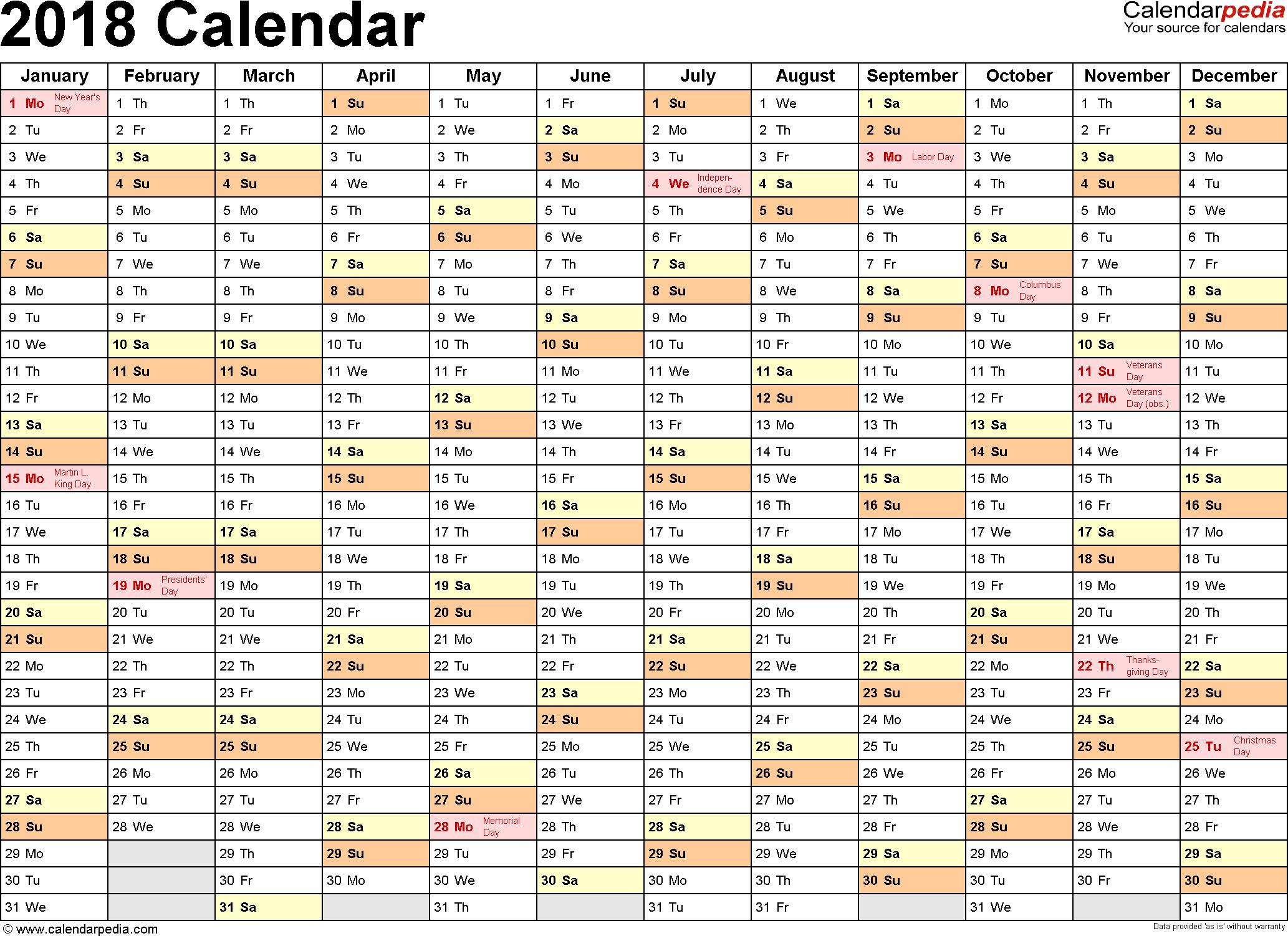 2018 Calendar pdf http://calendarprintablehub.com/2018-calendar.html ...